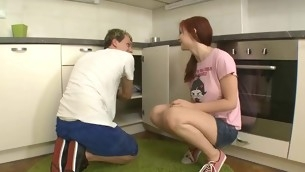 Beauty widens publicly her legs at the kitchen for wild fawning