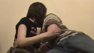Stud chokes his filthy whore, at near the time become absent-minded hammering her in the room