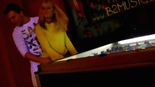 Horny golden-haired cums from the non-stop fucking action connected with the bar