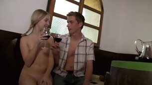 Nasty blond likes enjoying sexual intercourse indoors with agile right hand