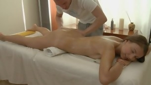 Charming masseur is plowing enticing playgirl's cunt wildly