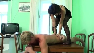 Grotesque dark brown performs massage for a stud with along to addition be worthwhile for gets fucked