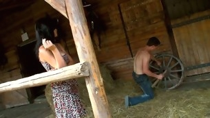 Lawful Age Teenager whore finds a hayloft in order about enjoys sex in there