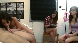 Frying lawful age teenager hotties are having fun giving wet blowjobs
